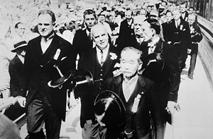Procession of IOC members at the 10th Olympic Games held in Los Angeles in 1932.