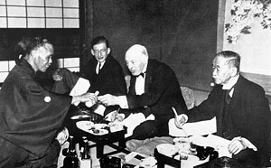Banquet to welcome IOC President Count Henri de Baillet-Latour to Japan in 1936.
