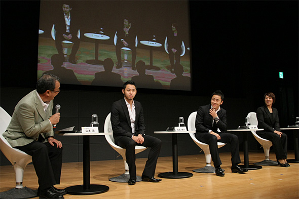 左から、司会の山本浩NHK解説委員、北島康介選手(競泳)、太田雄貴選手... グリーンアクション