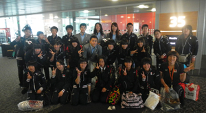 Meeting with Yuki Ota, Kenta Chida and others from the fencing team at Heathrow Airport